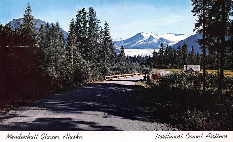Mendenhall Glacier, Alaska, Postcard, Used with Northwest Orient Airlines Label
