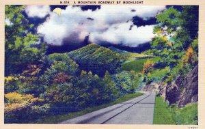 A Mountain Roadway By Moonlight Linen Vintage Postcard