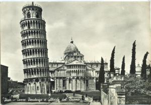 Italy, Pisa, Torre Pendente e Abside del Duomo 1959 used real photo Postcard
