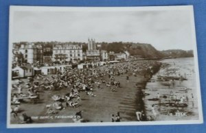 Vintage Real Photo Postcard The Beach Teignmouth  Devon C1