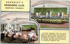 Sheboygan, Wisconsin Postcard Benedict's HEIDELBERG CLUB Bar Lounge Linen 1940