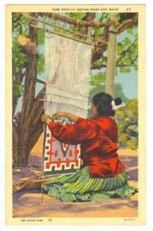 Woman Sewing A Rug How Navajo Indian
