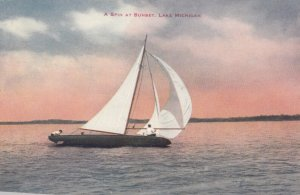 A Spin at Sunset, Lake Michigan, 1900-10s; Sailboat