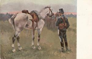 Jose Causachs. Soldier with his horse Fine painting, nice Spanish PC 1930s