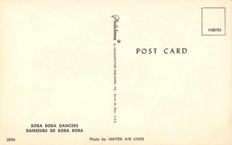 Bora Bora Dancers Grass Skirts Vintage Postcard J58321