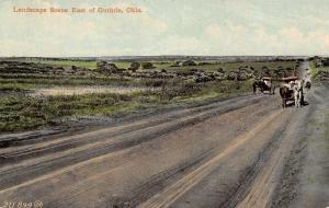 Guthrie Oklahoma~Landscape East Of Guthrie~Horse Buggies on Dirt Road~1910 PC