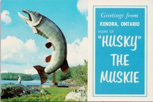 Husky The Muskie Kenora Ontario Greetings Fish Fishing McLeod Park Postcard D55