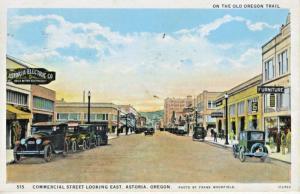 Astoria OR Commercial Street Oregon Trail c1931 Vintage Postcard D25