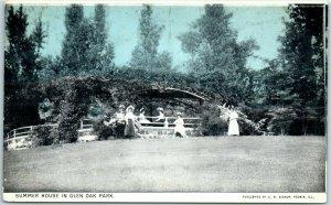 Peoria, Illinois Postcard Ladies at Summer House in GLEN OAK PARK 1910s UNUSED