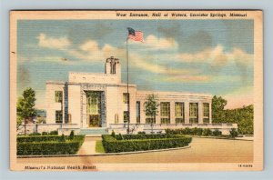 Excelsior Springs MO, West Entrance, Hall Of Waters, Linen Missouri Postcard
