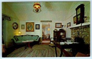 PALM SPRINGS, CA~ Interior CORNELIA WHITE HOME Historical Society 1960s Postcard