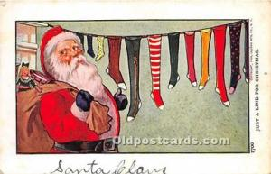 Santa Claus Christmas Writing on back indentation in card