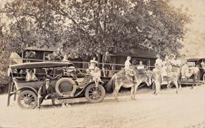 FAMILY GET TOGETHER-AUTOMOBILE-DONKEY-HORSE-KIDS-WOMEN-REAL PHOTO POSTCARD 1910s
