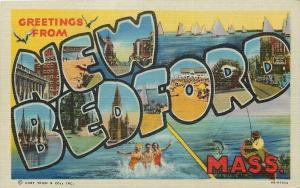 New Bedford Massachusetts~Large Letter Linen Postcard~Bathing Beauties~Downtown