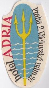 Czechoslovakia Praha Hotel Adria Vintage Luggage Label lbl0892