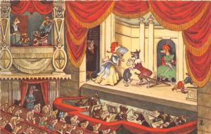 D47/ Germany Postcard German c1910 Comic Humanized Dressed Dogs Theatre Play 18