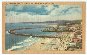 Long Beach CA Rainbow Pier And Auditorium Harbor Water Lagoon Postcard VPC1.