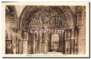Old Postcard Vezelay Basilica De La Madeleine The narthex and nave