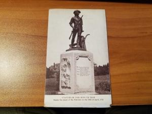 Antique Postcard, Statue of the Minute Man  Marks Stand of the Patriots