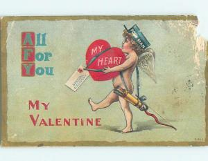 Pre-Linen valentine DELIVERY BOY CUPID HAS SPECIAL DELIVERY HEART HJ2322