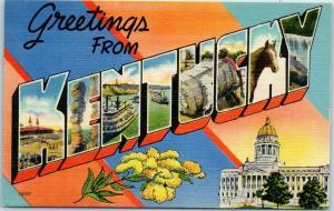 Vintage KENTUCKY Large Letter Postcard w/ State Capitol & Flower Linen c1950s