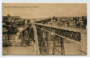 Ponte D Luize Bridge sobro o Douro Porto Portugal 1910c postcard