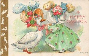 LP30  Easter Postcard Goose Bonnet Bertha Blodgett Artist