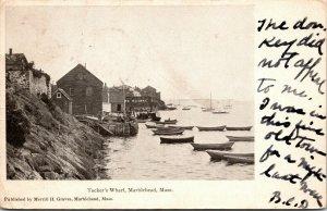 Post Card  -  Marblehead, MA  Tucker's Wharf - VINTAGE - RPPC
