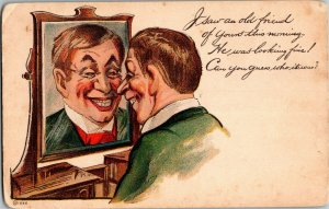 Man Admiring Himself in Mirror I Saw an Old Friend Comic Vintage Postcard A32