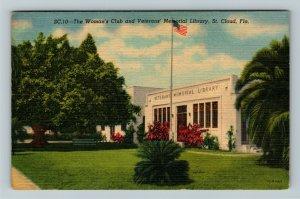 St. Cloud FL-Florida,Veterans Memorial Library, Womens Club,Linen c1953 Postcard