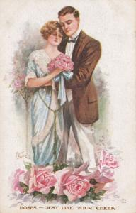 Roses Rose Red The Colour Of Your Cheeks Antique Romance Postcard