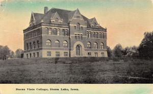 Storm Lake Iowa~Main Building on Campus of Buena Vista College c1909 Postcard