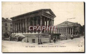 Old Postcard Nimes La Maison Carree and Theater