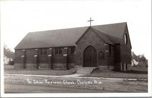 Real Photo Postcard St. Johns Episcopal Church in Charlotte, Michigan~133019