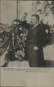 President Teddy Roosevelt Speaking at Concord NH c1905 Real Photo Postcard