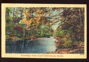 East Douglas, Massachusetts/MA Postcard, Scenic View of Stream, 1942!
