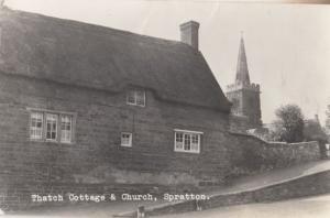 Thatch Cottage & Church Spratton Vintage Real Photo Postcard