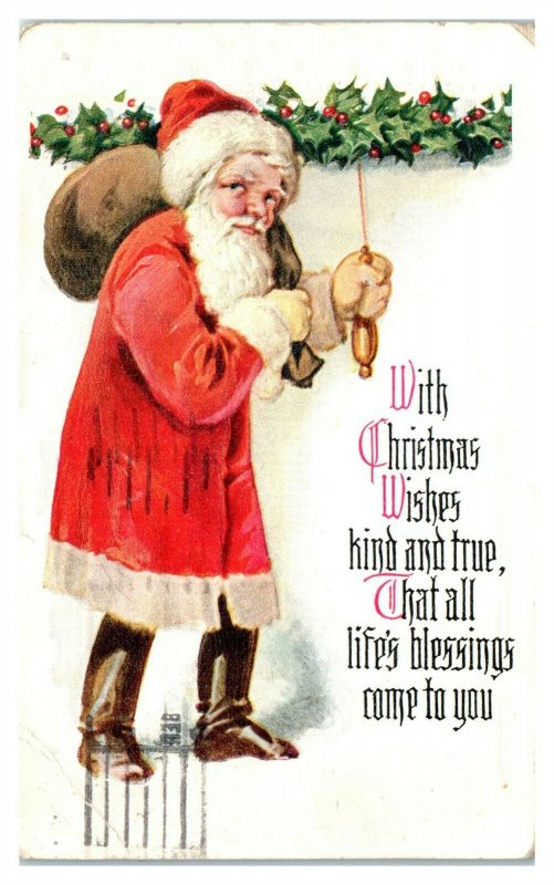 With Christmas Wishes Kind and True Santa Postcard *6T3