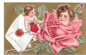 Valentine Postcard Cupid Pretty Lady Flower Face in Rose