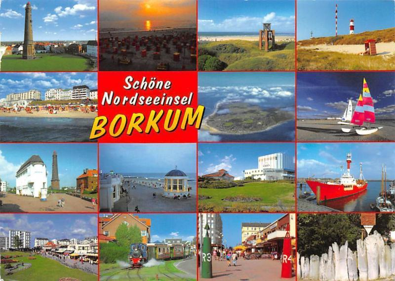 Nordseeinsel Borkum multiviews Lighthouse Beach Sunset Train Boats Hafen Schiff