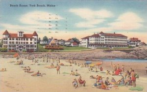 Maine York Beach Beach Scene 1955