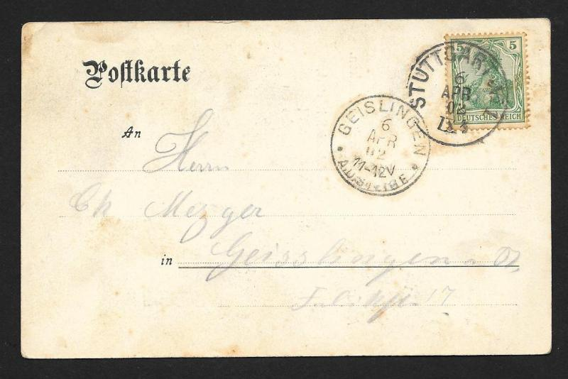WURTTEMBURG Stamps on Postcard Poem Used c1902