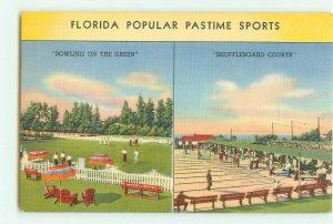 Florida Pastime Sports, Shuffleboard, Bowling on the Green 1942 Linen Postcard