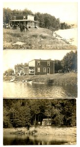 3 RPPC's - Action Lakeside, Camps, Buggies