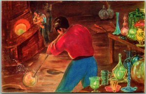 Mexico Postcard Hand Blown Mexican Glass Glass-Blowing Artist-Signed Unused