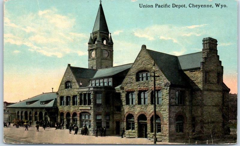Cheyenne, Wyoming Postcard UNION PACIFIC DEPOT Railroad Train Station 1913