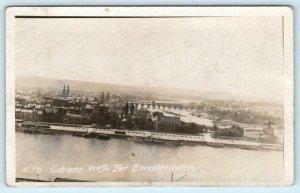 RPPC  COBLENZ, GERMANY ~ Birdseye from Fort Ehrenbreitstein c1910s-20s Postcard
