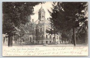 Hastings Michigan~Barry County Courthouse~Tall Clock Tower~1908 Rotograph