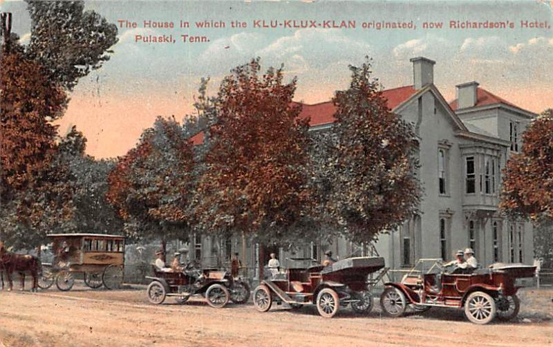 Klu Klux Clan Postcard The House the Klu Klux Klan originated Now Richardson&...