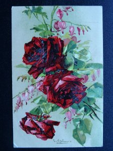 Romance Love RED ROSES & PERSONAL LOVE MESSAGE / VERSE TO CHARLIE c1905 Postcard